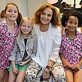 Diane von Furstenberg with some tots modeling the Gap collection.