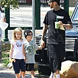 Travis Barker and His Entourage Hit Starbucks