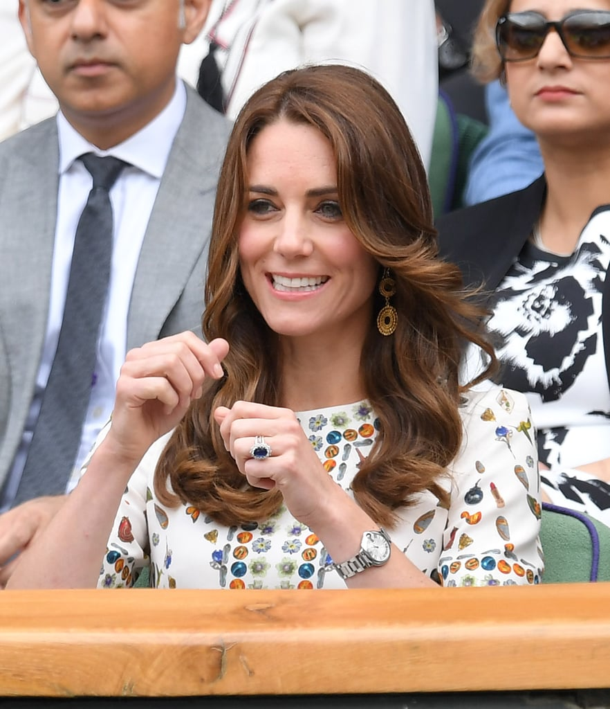 Could Kate Middleton be any cuter? On Sunday, the duchess and Prince William attended the men's final of the Wimbledon Tennis Championships to watch Andy Murray take on Milos Raonic, but it was Kate's adorable cheerleader antics that nearly stole the show. Clad in a skull-print Alexander McQueen dress, the mother of two was as cute as can be as she cheered on the players from the stands and showed her enthusiasm for the sport. Her latest Wimbledon outing comes just days after she popped up at the lawn tennis championships, where she met with members of the armed forces and linked up with Venus and Serena Williams's mother, Oracene Price. See what else is in store for Kate and William in the months to come!