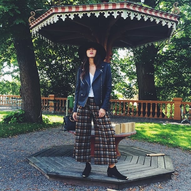If you were going to try culottes, you probably bought them for Summer and sported them with crop tops and slider sandals. But a plaid pair complements your closed-toe booties and a leather moto jacket in a way that's hip and edgy. Source: Instagram user natalieoffduty