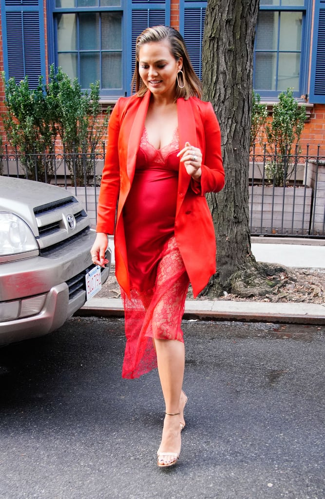 Chrissy Teigen Red Slip Dress on Jimmy Fallon