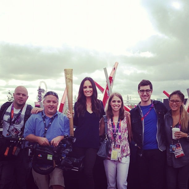 Catt Sadler posed for a photo with the Olympic torch. Source: Instagram user iamcattsadler