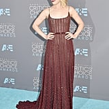 Rachel looked every bit romantic in this crimson Elie Saab number at the Critics' Choice Awards.