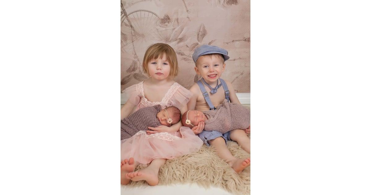 2 Sets Of Twins Newborn Photo Shoot Popsugar Moms Photo 3