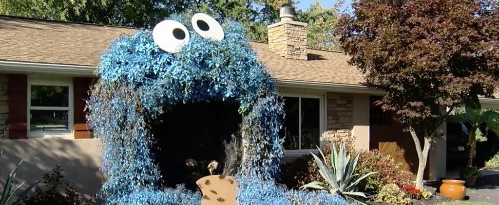 Woman Decorates Front Door to Look Like Cookie Monster