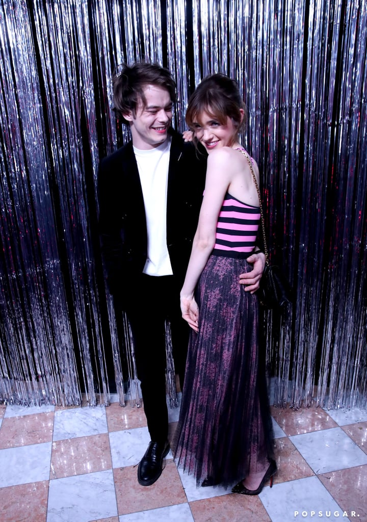 Charlie Heaton and Natalia Dyer put those pesky breakup rumors to rest when they stepped out together at a Dior makeup launch party in LA on Wednesday night. The couple — who we last saw at the National Television Awards in London back in January — looked so in love as they gave each other heart eyes and played up their sweet chemistry for the cameras. At one point, Charlie even picked up Natalia while posing with stylist Brad Goreski and a friend.  Natalia and Charlie first began dating in January 2017 after meeting on the set of their Netflix show, Stranger Things, but it was almost a year later that they finally made their red carpet debut as a couple. Earlier this week, there were rumors that the two had reportedly split, but as it turns out, they were just that: rumors.       Related:                                                                                                           Stranger Things's Charlie Heaton and Natalia Dyer Have a Sweeter Romance Than Nancy and Jonathan