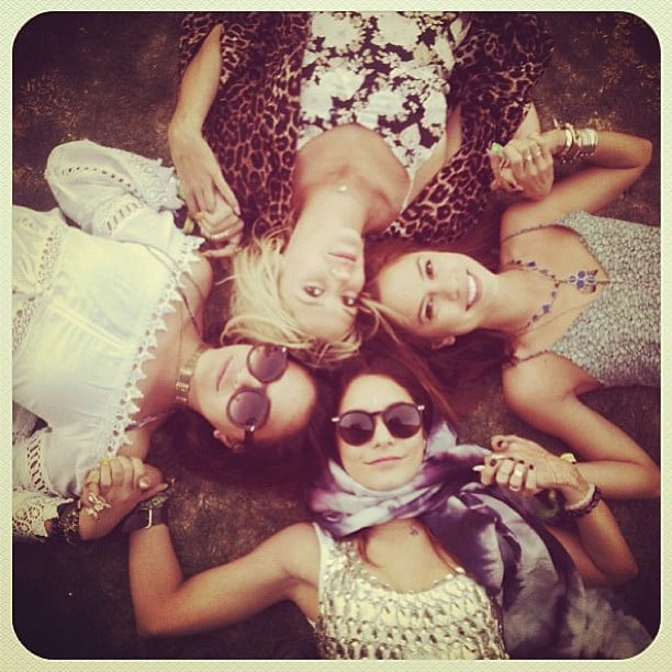 Vanessa Hudgens reclined on the grass with a group of gals during Coachella. Source: Instagram user vanessahudgens