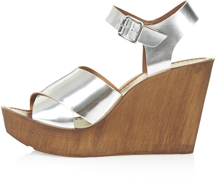 Topshop Silver Wedge Sandals ($75)