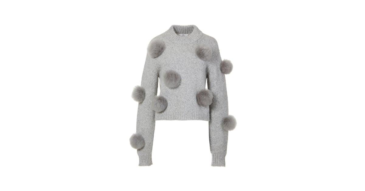 Tibi Cropped Pom Pom Sweatshirt Holiday Sweaters 2017 Popsugar