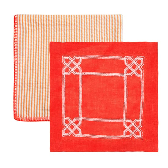 Kim Seybert Seersucker Dinner Napkin, $16; Kim Seybert Latticed Cocktail Napkin, $12