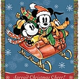 "Disney's Mickey Mouse, ""Sleigh Ride"" Woven Tapestry Throw Blanket"