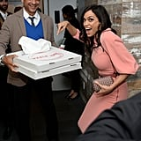 Rosario Dawson got happy when pizza arrived at the Trance after party.