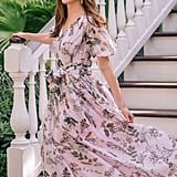 Gal Meets Glam Collection Phoebe Floral Puff-Sleeve Chiffon Maxi Dress