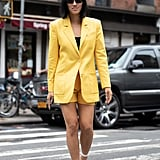 Stand Out in a Bright Yellow Blazer and Matching Shorts