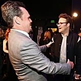 Kevin Dillon stopped to chat with Seth Rogen.