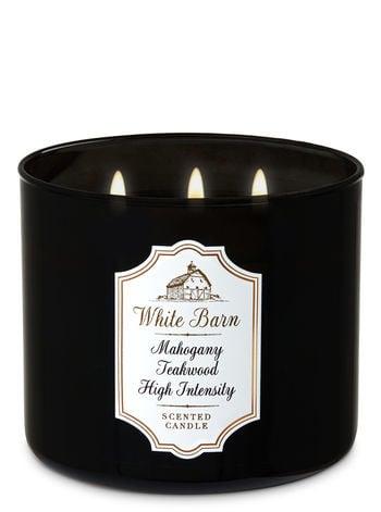 Bath & Body Works White Barn Mahogany Teakwood High Intensity Three-Wick Candle