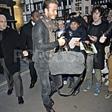 David Beckham had a leather jacket on.