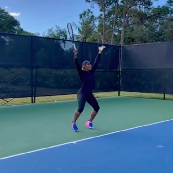 """Watch Serena Williams Dance to """"Body"""" During Tennis Practice"""