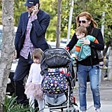 Isla Fisher, Sacha Baron Cohen, Elula Cohen, and Olive Cohen on a special walk for Sacha's 40th birthday.