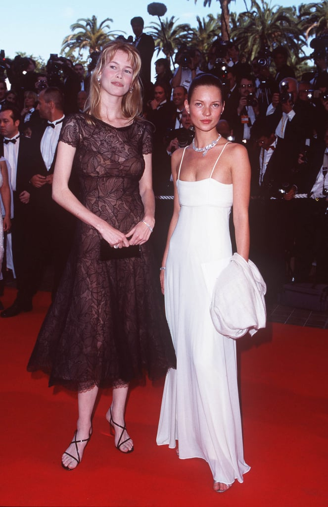 Wearing a white spaghetti strap gown to the Cannes Film Festival in 1998, with Claudia Schiffer.