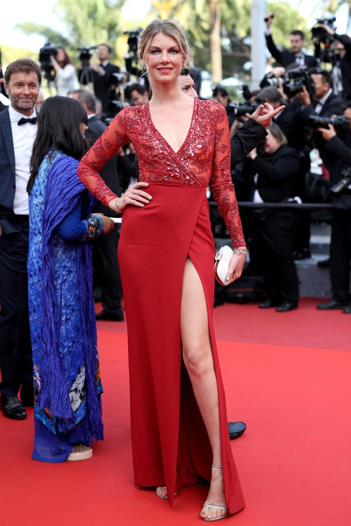 9b7fd341896 Angela Lindvall was a knockout in a slit and embellished red gown at the  Loving premiere