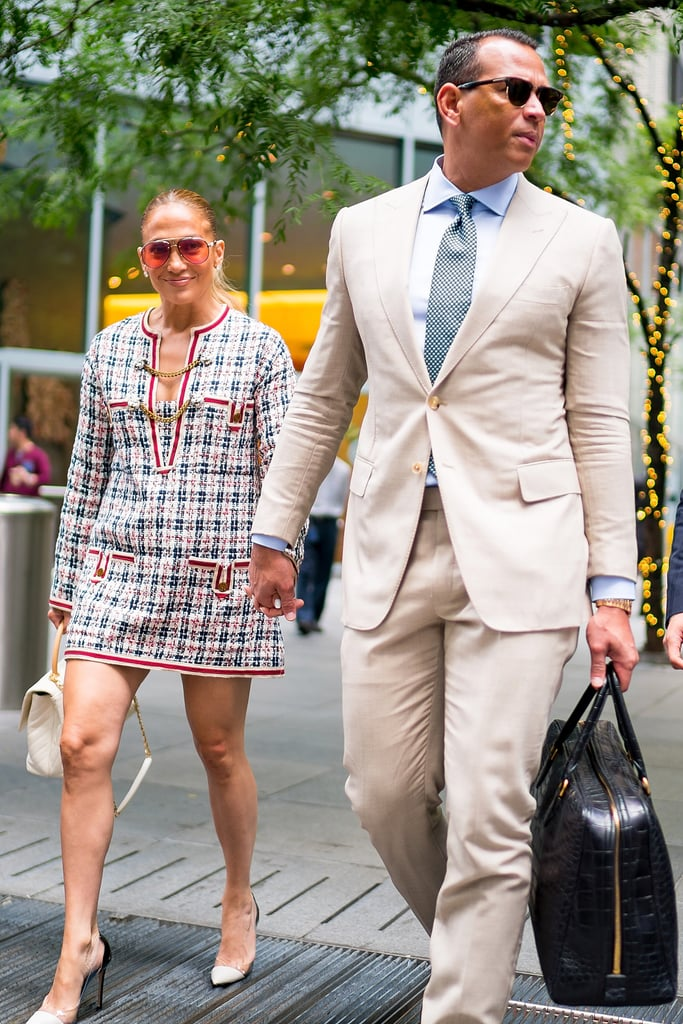 My casual Friday entails some form of athleisure and a big smile knowing that the weekend is rapidly approaching, but for Jennifer Lopez and Alex Rodriguez, well, they keep it business casual. On Friday, the power couple enjoyed an afternoon date in New York City looking like they were ready to sign a deal (read: Dinero, Dinero, Dinero). With Alex in a tan suit and Jennifer in a tweed dress, the two smiled and held hands as they walked in and out of a building.  Since returning from their romantic getaway in Italy, the duo has been in New York for a few appearances ahead of Jennifer's big night at the MTV VMAs. On Monday, she will receive the Michael Jackson Video Vanguard Award, and we're expecting an incredible performance, but for now, it's just quality time with her man! See photos from their fabulous lunchtime outing ahead.      Related:                                                                                                           Take a Walk Down Memory Lane and Look Back at Jennifer Lopez's Sexy MTV VMAs Evolution
