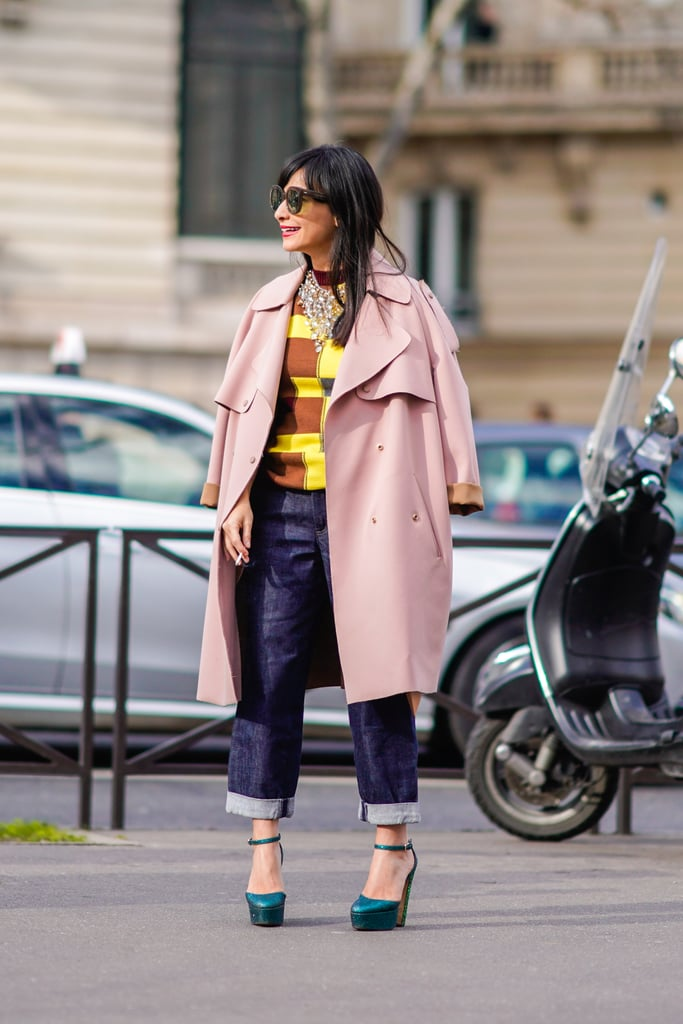A Colourful Jumper, Pink Coat, Blue Jeans, and Green Heels