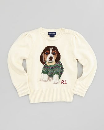 Preppy perfection at Ralph Lauren, this baby beagle ($85) sports a fair isle sweater of his own.