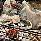 """Someone left a cart of soup at Food 4 Less . . . doing good for their fellow mankind."""