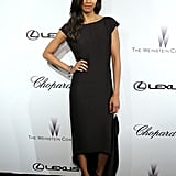 At the Weinstein party at Cannes, Zoe Saldana proved that a simple black dress can definitely stand out if it features a cool detail such as a high-low hemline.