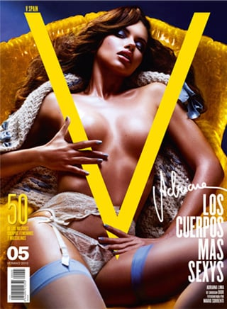 V Magazine Launch International Spain Issue With Adriana Lima Semi Naked Cover