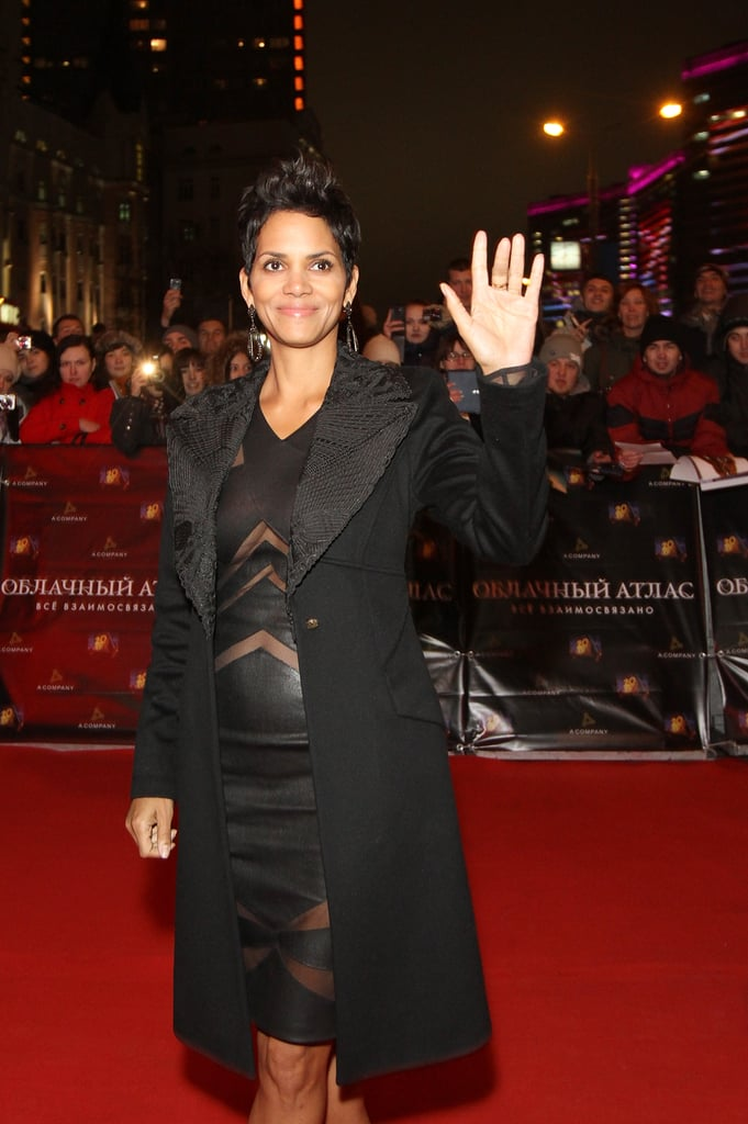 Halle Berry waved to fans and photographers.