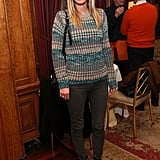 Nicky Hilton dressed up a Winter knit with leather pants and embellished booties.