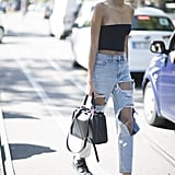 Style a Tube Top With Distressed Jeans