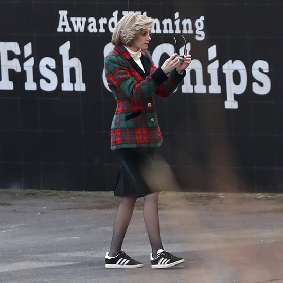 Kristen Stewart as Princess Diana in a Tartan Blazer on Set