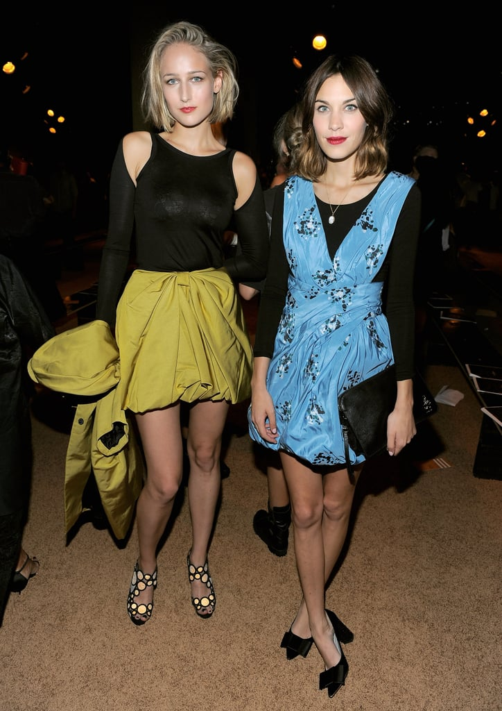 Leelee Sobieski and Alexa Chung took time to catch up at Proenza Schouler's spring presentation.