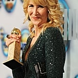 Laura Dern posed with her Golden Globe.