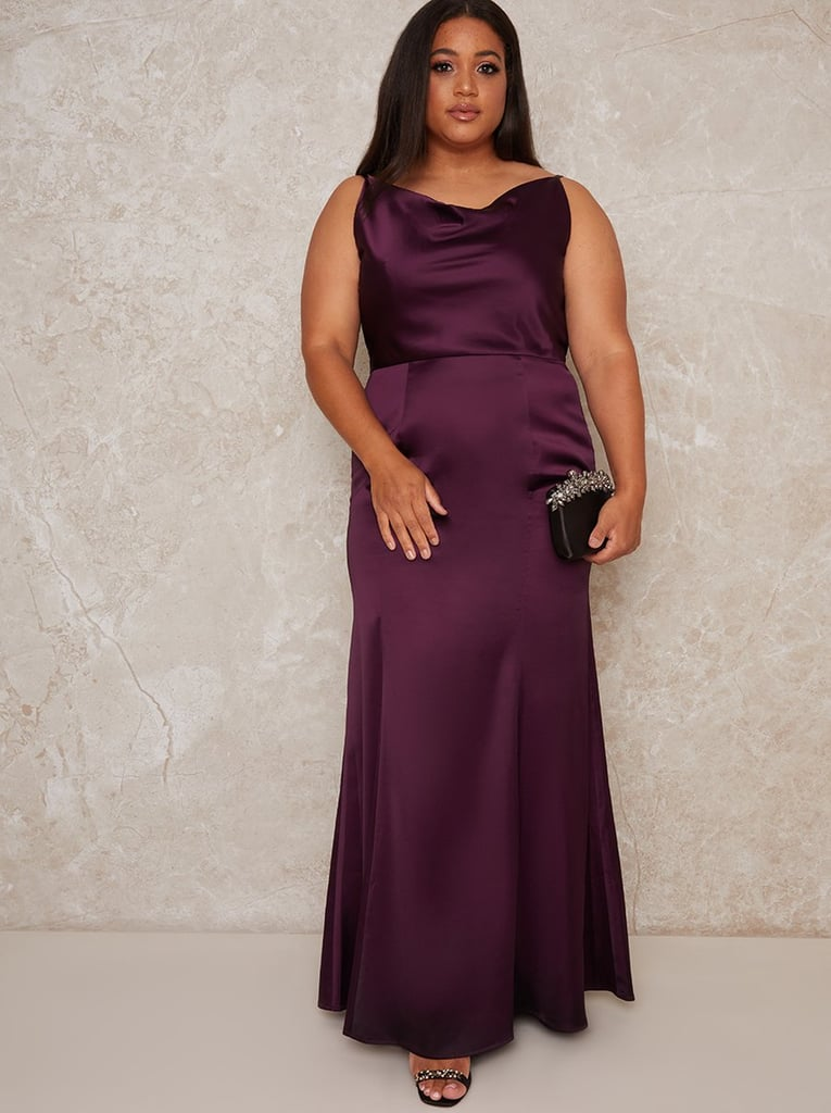 Purple Bridesmaid Dress: Chi Chi London Plus Size Satin Slip Cowl Back Maxi Dress in Purple
