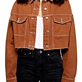 Topshop Topstitched Crop Twill Jacket
