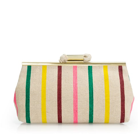 This candy-striped clutch has the most adorable retro feel. Pair it with your midi skirts and midi dresses for a sweet vibe.  J.Crew Candy-Stripe Jute Clutch ($98)