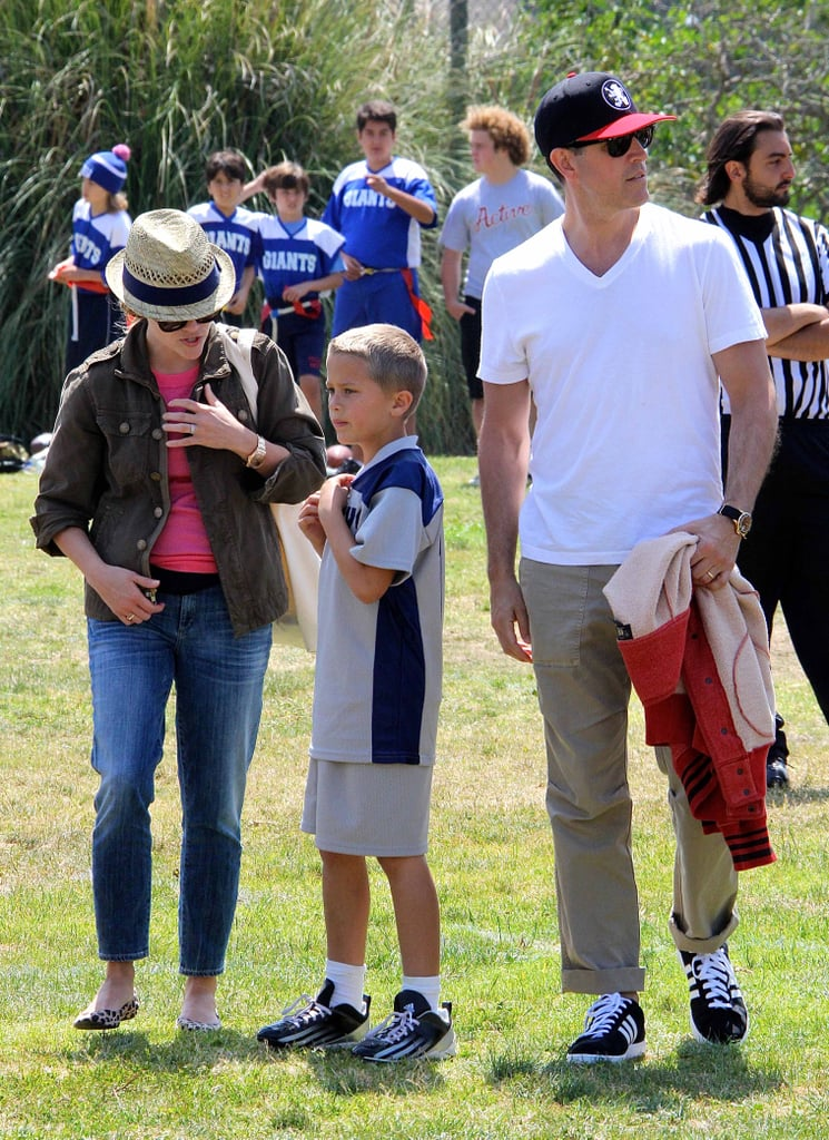 Reese Witherspoon and Jim Toth watched Deacon play football in LA.