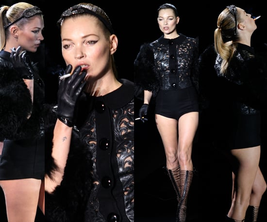 Kate Moss Smokes Cigarette on Louis Vuitton Runway