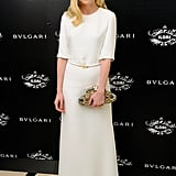 She donned a chic white Derek Lam cutout gown, offsetting the minimalist look with a gold bejeweled clutch.