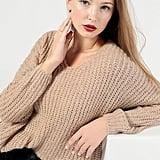 Azalea Fuzzy V Neck Pullover Sweater