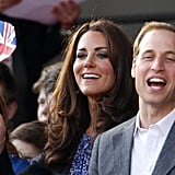 Kate Middleton waved a Union Jack flag at the Diamond Jubilee Concert at Buckingham Palace.