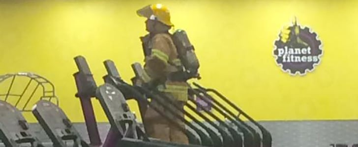 Firefighter Climbs Stairs at the Gym on 9/11 Anniversary