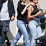 Selena Gomez Wore Brown Staud Sandals While Out With Winnie