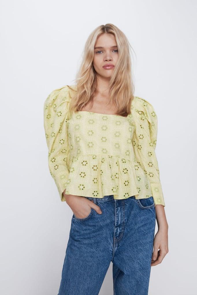 Zara Openwork Embroidered Top