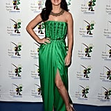 Katy Perry wore a green Yves Saint Laurent gown.
