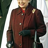 Queen Elizabeth II sported a festive hat for Christmas in 2003.